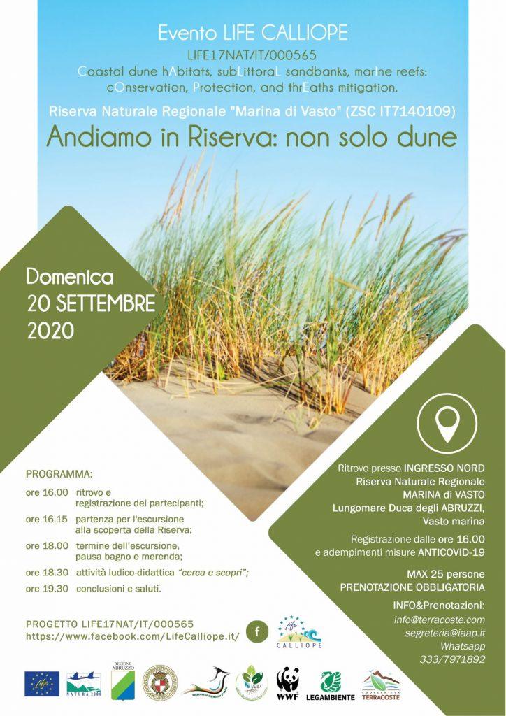 2020 – Evento LIFE CALLIOPE – Andiamo in Riserva: non solo dune